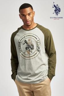 U.S. Polo Assn. Grey Camo Filled Long Sleeve Raglan T-Shirt