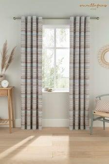 Sam Faiers Blue Serena Stripe Eyelet Curtains