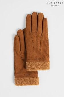 Ted Baker Brown Ryght Nubuck Fleece Lined Gloves