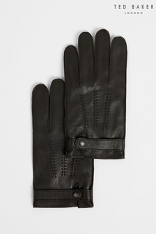 Ted Baker Mens Brown Resit Leather Top Stitch Gloves
