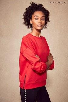 Mint Velvet Red Side Zip Sports Sweatshirt