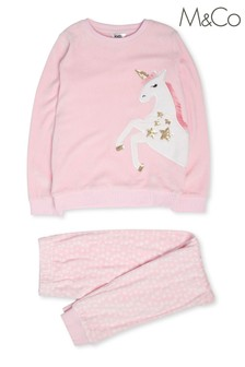 M&Co Multi Unicorn Print Fleece Pyjamas