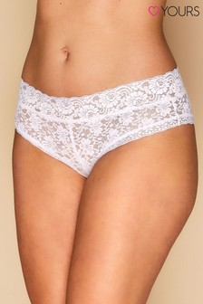 Yours Curve White Lace Brief