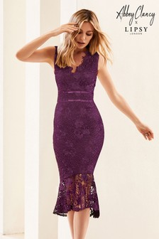 Abbey Clancy x Lipsy Lace Midi Bodycon Dress