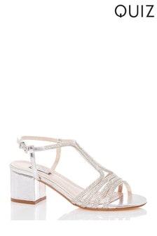Quiz Diamanté Strappy Block Heel Sandal