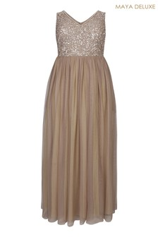 Maya Curve Sequin Bodice Sleeveless Maxi Dress