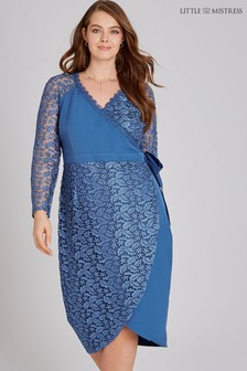 Little Mistress Curve Denim Crochet Lace Wrap Dress