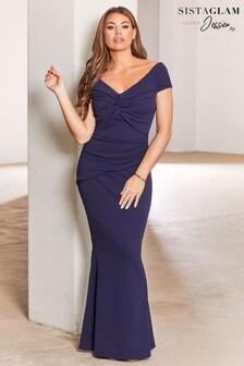 שמלת מקסי בארדו צמודה עם לולאת קשירה של Sistaglam Loves Jessica Wright