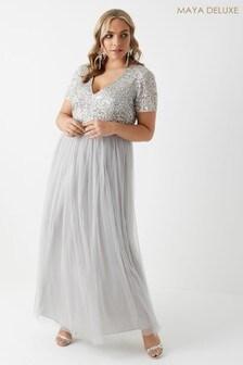 Maya Curve V neck Short Sleeve Sequin Maxi Dress
