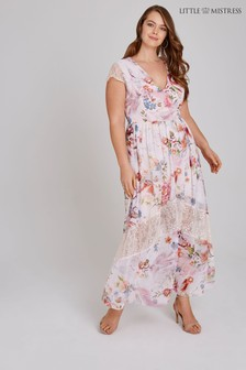 Little Mistress Curve Floral Lace Insert Maxi Dress
