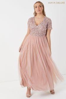 Maya Curve lange jurk met V-hals, korte mouwen en lovertjes