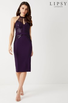 Lipsy - Geschulpte midi-jurk met lovertjes