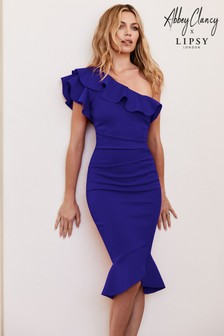 Abbey Clancy x Lipsy Ruffle One Shoulder Flippy Hem Bodycon Dress