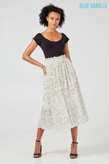 Blue Vanilla Polka Dot Pleated Midi Skirt