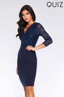 Quiz 3/4 Sleeve Lace Top Midi Dress