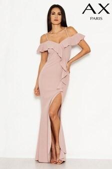 AX Paris - Lange jurk met ruches aan de voorkant