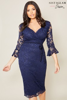 Sistaglam Loves Jessica Lace Wrap Midi Bodycon Dress
