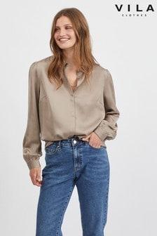 חולצת סאטן עם שרוול ארוך של Vila