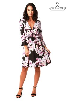Want That Trend Floral Bell Sleeves Dress