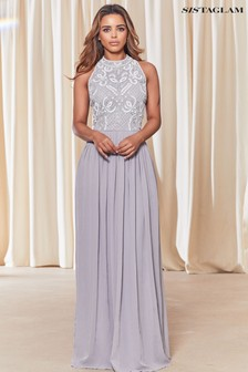 Sistaglam Embellished Halter Neck Maxi Dress