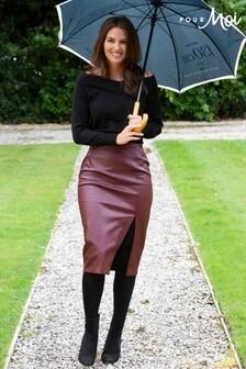 Pour Moi Faux Leather Midi Pencil Skirt