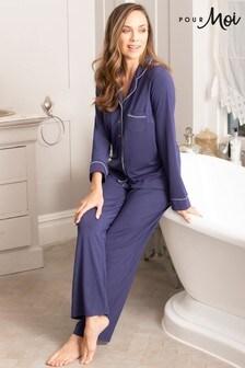 Pour Moi Modal Jersey Long Sleeve Revere Collar Pyjama Set