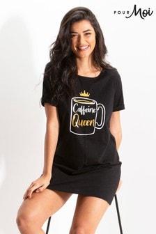 חולצת טי בויפרנד מבד ג'רזי של Pour Moi (Caffeine Queen)