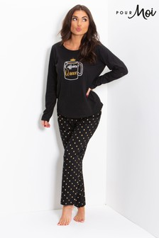 Pour Moi Jersey Cotton Pyjama Set (Caffeine Queen)