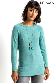 Roman Soft Jersey Sweatshirt with Necklace