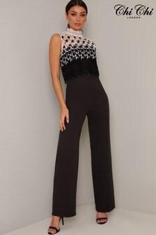 Chi Chi London Lubella Lace Overlay Jumpsuit (L21773)   $97