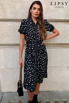 Lipsy Spot Midi Shirt Dress