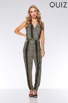 Quiz Glitter Leopard Print Jumpsuit