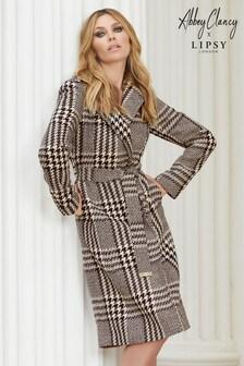 Károvaný kimono kabát s opaskom Abbey Clancy x Lipsy