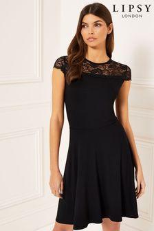 Lipsy Cap Sleeve Lace Skater Dress