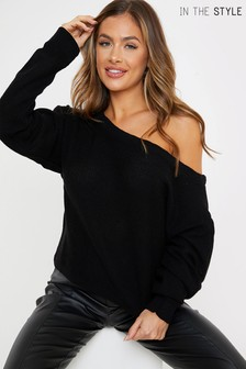 In The Style Francesca Farago Off Shoulder Slouchy Knitted Jumper