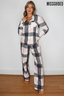 Missguided Large Check Flannel Pyjama Set