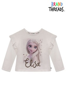 Brand Threads Frozen Elsa Girls Snowflake T-Shirt