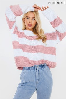 In The Style x Billie Faiers Gestreifter Oversized-Pullover