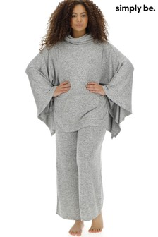 Simply Be Pretty Lounge Knitted Poncho and Wide Leg Lounge Set
