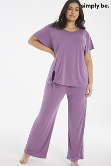 Simply Be Tie Front Top and Wide Leg Trouser Set