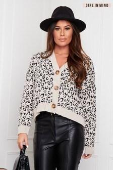 Girl In Mind Leopard Print Button Through Cardigan