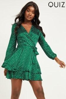 Quiz Spot Print Wrap Dress