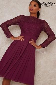 Chi Chi London Athenia Pleated Midi Dress