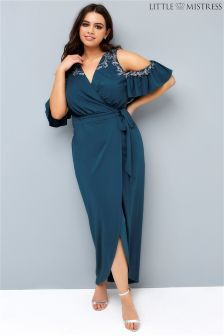 Little Mistress Curve Cold Shoulder Wrap Dress
