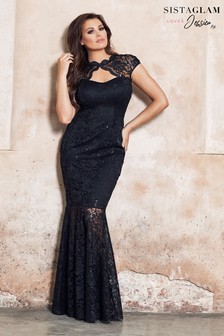 Sistaglam Loves Jessica Lace Keyhole Maxi Dress