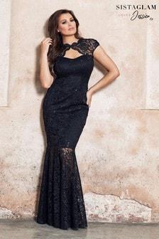 Кружевное платье макси с вырезом капелькой Sistaglam Loves Jessica
