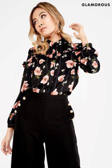 Glamorous - Gestreept overhemd met bloemenprint
