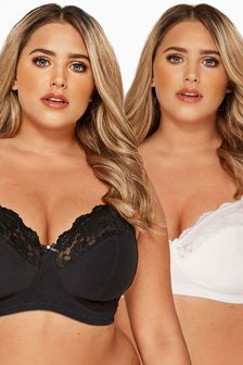 Yours Curve Non-Wired Soft Cup Bras- Pack Of 2 DD+