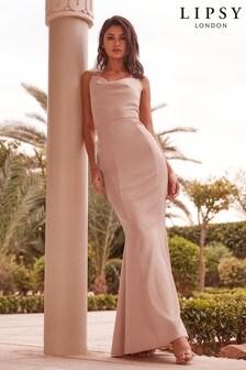 露肩小洋裝羅馬領長洋裝