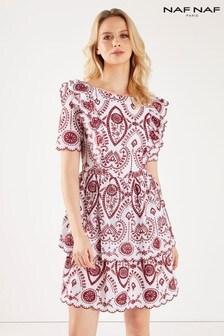 שמלה עם דוגמה בלי שרוולים של Naf Naf